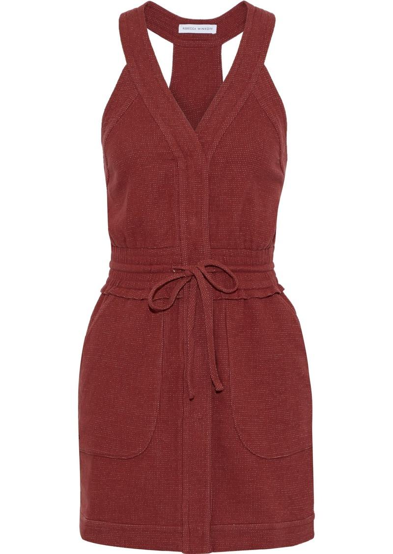 Rebecca Minkoff Woman Royal Tie-front Cotton-blend Canvas Mini Dress Brick