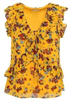 Rebecca Minkoff Woman Ruffled Floral-print Georgette Top Marigold