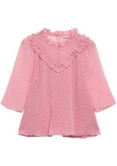 Rebecca Minkoff Woman Ruffled Printed Crepe Top Baby Pink