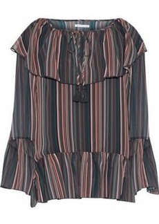 Rebecca Minkoff Woman Ruffled Striped Chiffon Top Dark Gray