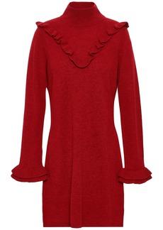 Rebecca Minkoff Woman Ruffled Wool And Yak-blend Mini Dress Claret