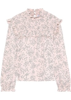Rebecca Minkoff Woman Sharon Ruffle-trimmed Shirred Printed Crepe Blouse Pastel Pink