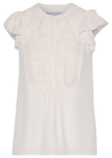 Rebecca Minkoff Woman Sheldy Lace-trimmed Pintucked Crepe De Chine Blouse Cream