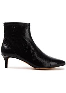 Rebecca Minkoff Woman Siya Crinkled Glossed-leather Ankle Boots Black