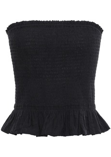 Rebecca Minkoff Woman Strapless Modal-blend Jacquard Peplum Top Black