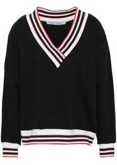 Rebecca Minkoff Woman Kristine Striped Cotton-blend Fleece Sweatshirt Black