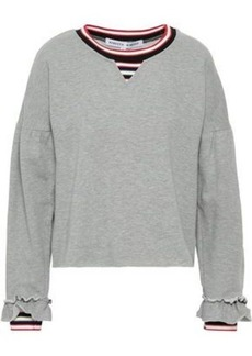 Rebecca Minkoff Woman Striped Cotton-blend Fleece Sweatshirt Light Gray