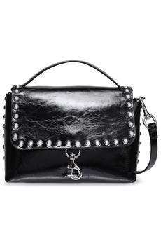Rebecca Minkoff Woman Studded Glossed Cracked-leather Shoulder Bag Black