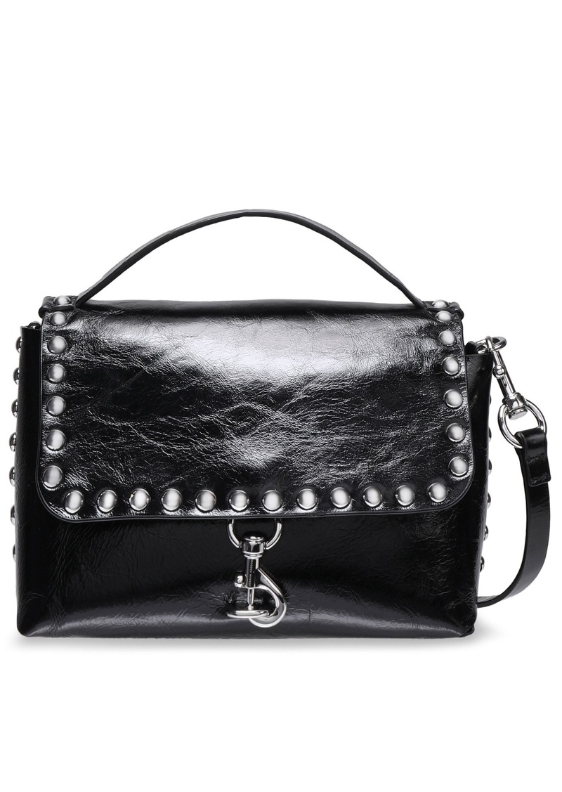 Rebecca Minkoff Woman Studded Glossed Cracked-leather Shoulder Bag Black