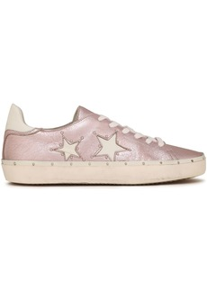 Rebecca Minkoff Woman Studded Metallic Cracked-leather Sneakers Baby Pink