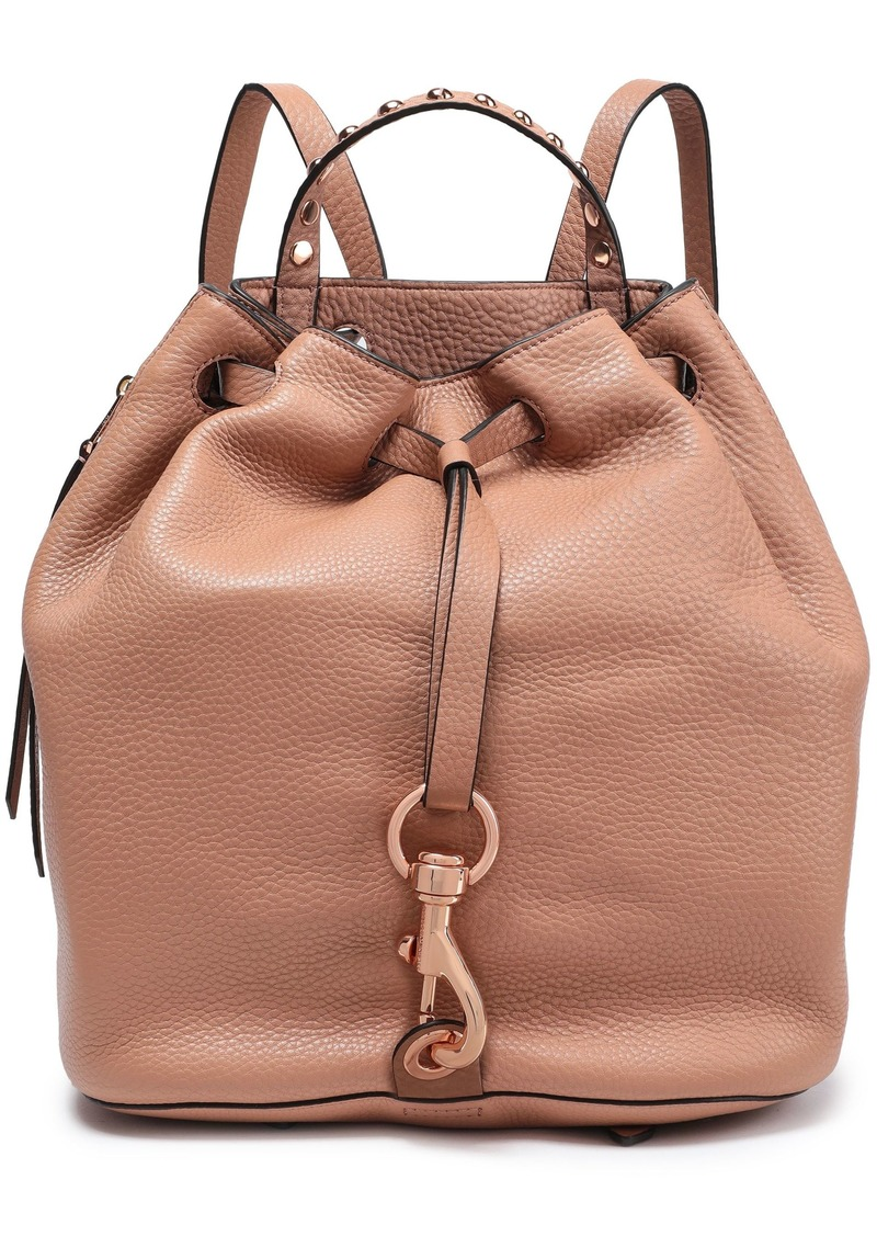 Rebecca Minkoff Woman Studded Pebbled-leather Backpack Brown
