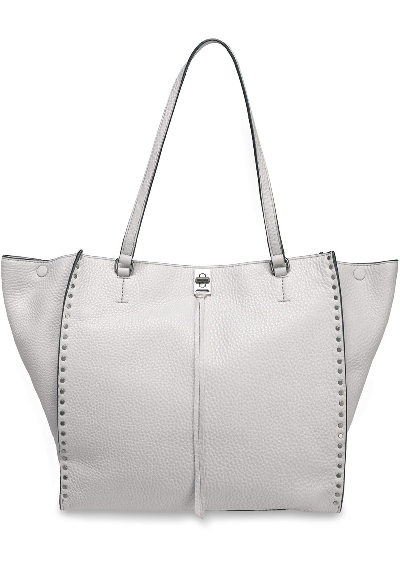 Rebecca Minkoff Woman Studded Pebbled-leather Tote Light Gray