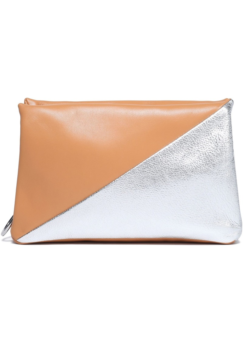 Rebecca Minkoff Woman Suede And Leather Clutch Silver