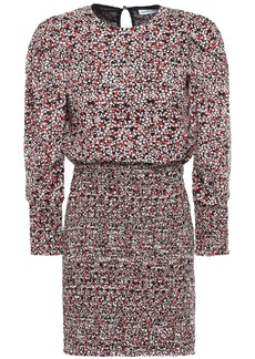 Rebecca Minkoff Woman Tabby Shirred Floral-print Cotton-poplin Mini Dress Black