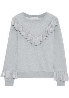 Rebecca Minkoff Woman Tasseled Cotton-blend Fleece Sweatshirt Gray
