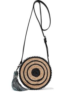 Rebecca Minkoff Woman Tasseled Striped Woven Straw Shoulder Bag Black