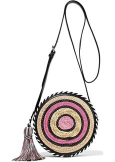 Rebecca Minkoff Woman Tasseled Striped Woven Straw Shoulder Bag Multicolor