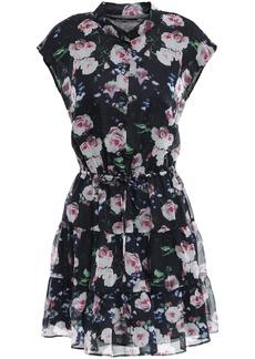 Rebecca Minkoff Woman Tiered Floral-print Organza Mini Dress Black