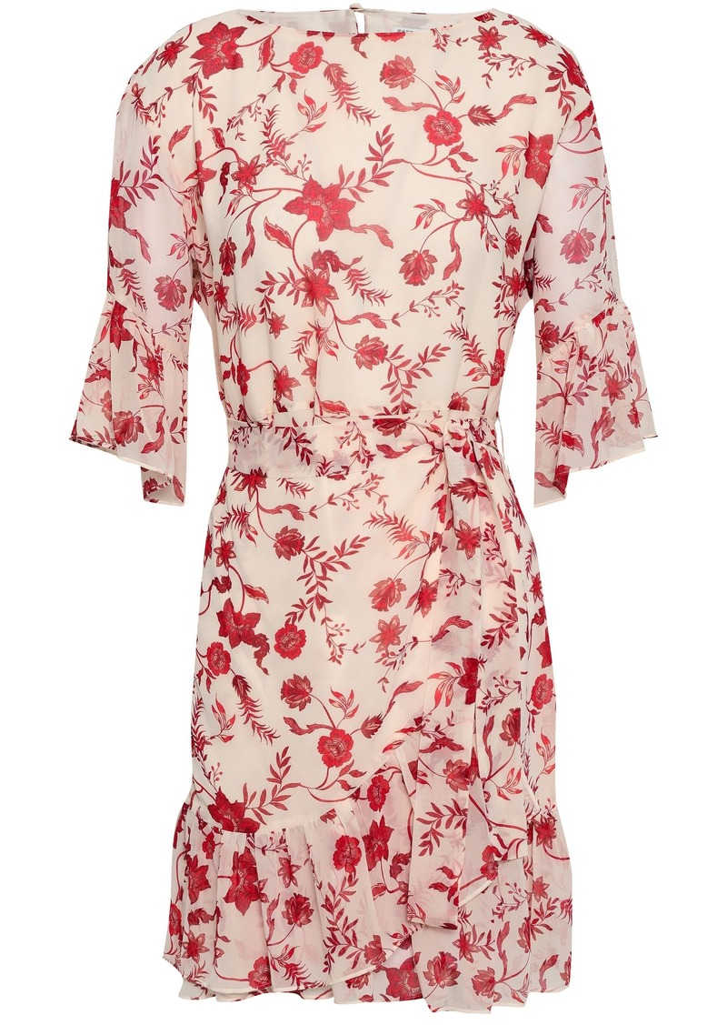 Rebecca Minkoff Woman Wendy Wrap-effect Floral-print Chiffon Mini Dress Neutral
