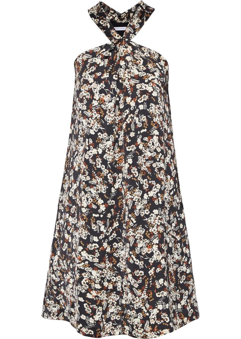 Rebecca Minkoff Woman Winnie Twist-front Floral-print Satin Dress Black