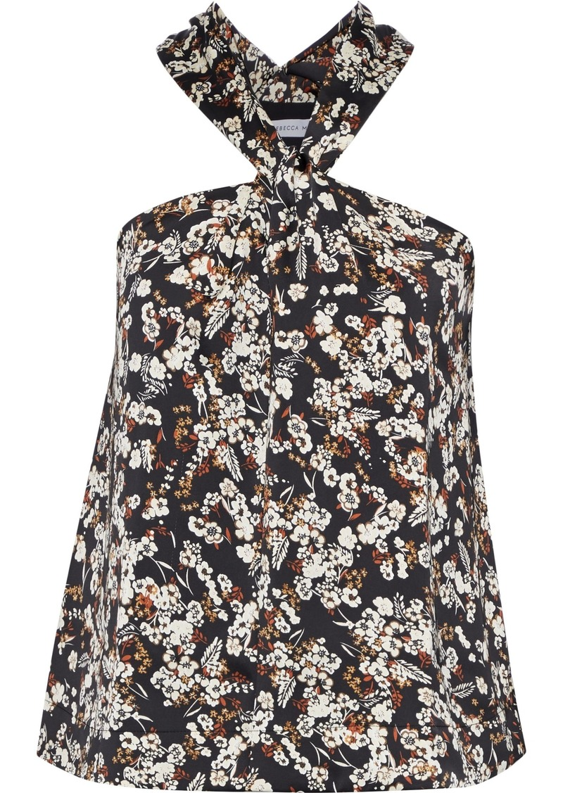 Rebecca Minkoff Woman Winnie Twist-front Floral-print Satin Top Black