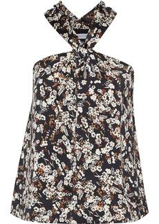 Rebecca Minkoff Woman Winnie Twist-front Floral-print Satin Top Black