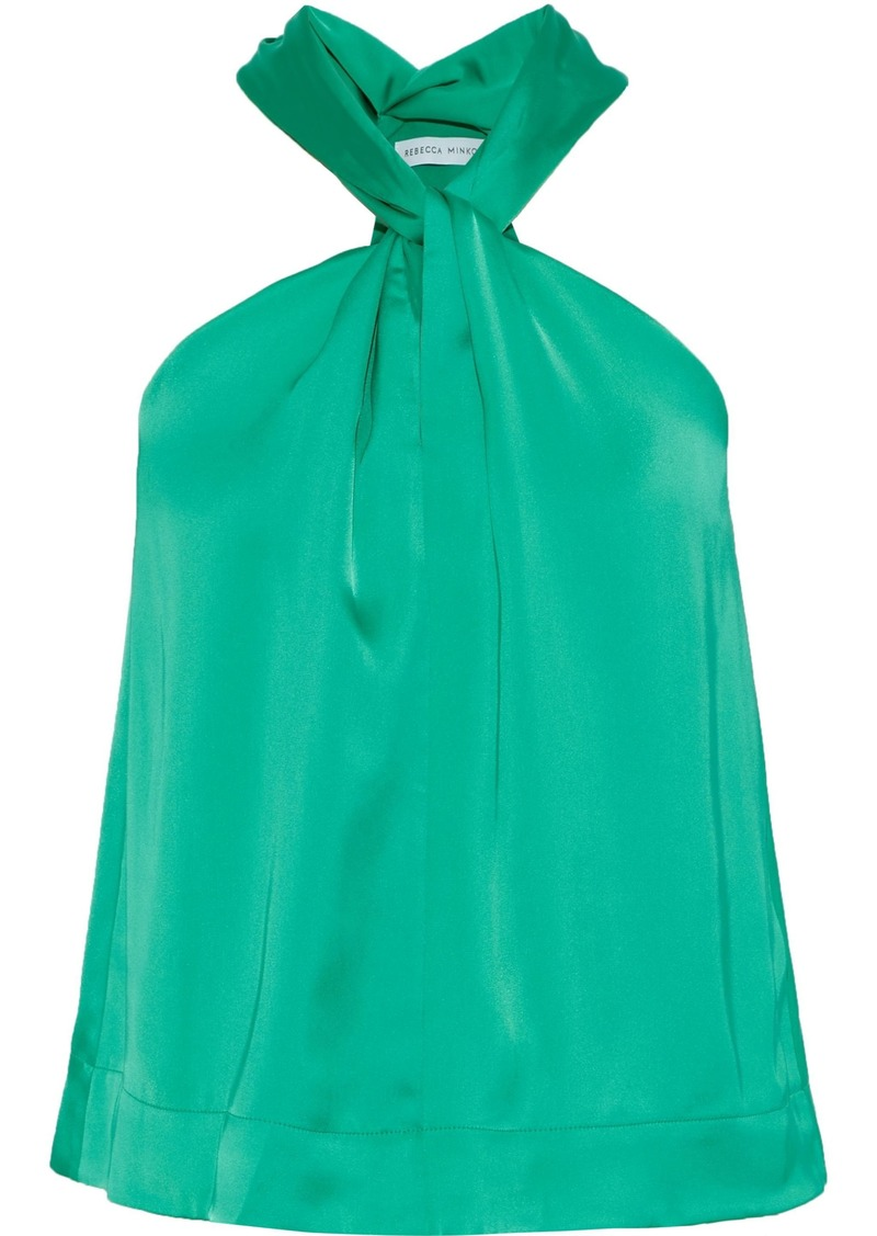 Rebecca Minkoff Woman Winnie Twist-front Satin Top Bright Green