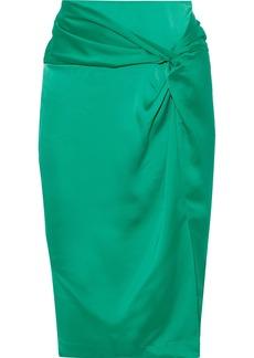 Rebecca Minkoff Woman Winta Twist-front Satin Pencil Skirt Bright Green