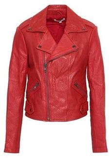 Rebecca Minkoff Woman Wolf Textured-leather Biker Jacket Claret