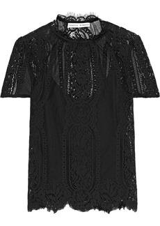 Rebecca Minkoff Woman Yasmin Scalloped Cotton-blend Lace T-shirt Black