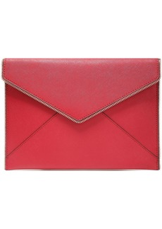 Rebecca Minkoff Woman Zip-embellished Textured-leather Envelope Clutch Claret