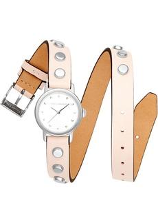 Rebecca Minkoff Women's Bffl Silver-Tone Stud & Blush Double Wrap Leather Strap Watch 25mm