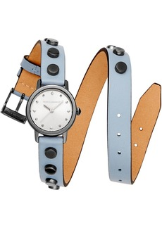 Rebecca Minkoff Women's Bffl Studded Dusty Blue Double Wrap Leather Strap Watch 25mm