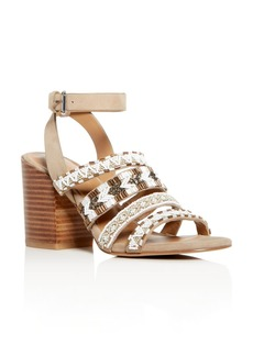 Rebecca Minkoff Women's Caroline Beaded Suede Block Heel Sandals
