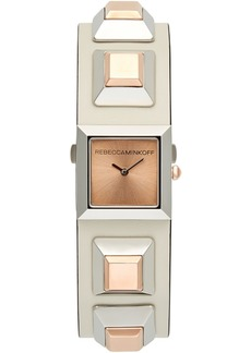 Rebecca Minkoff Women's Jett Rose Gold-Tone Stud & White Leather Strap Watch 22mm