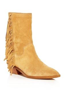 Rebecca Minkoff Women's Krissa Suede Fringe Low-Heel Boots
