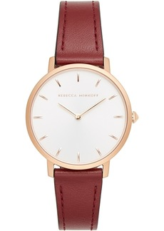 Rebecca Minkoff Women's Major Bordeaux Leather Strap Watch 35mm