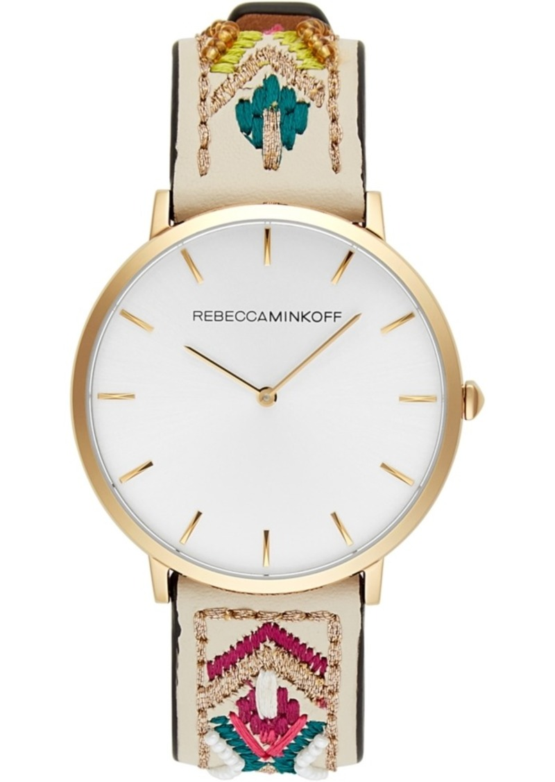Rebecca Minkoff Women's Major Embroidered Leather Strap Watch 40mm