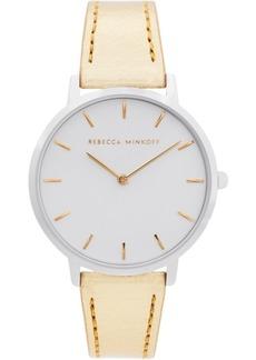 Rebecca Minkoff Women's Major Gold-Tone Metallic Leather Strap Watch 35mm