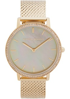 Rebecca Minkoff Womens Major Gold Tone Stainless Steel Mesh Bracelet Watch 35MM