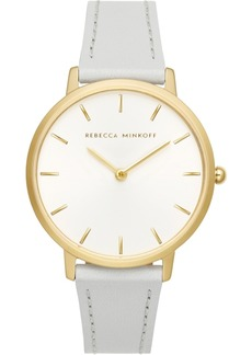 Rebecca Minkoff Women's Major Gray Leather Strap Watch 35mm