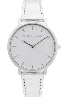 Rebecca Minkoff Women's Major Silver-Tone Metallic Leather Strap Watch 35mm