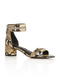 Rebecca Minkoff Women's Ortenne Too Snake-Embossed Block-Heel Sandals