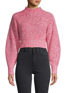Rebecca Minkoff Ribbed Cotton-Blend Cropped Sweater