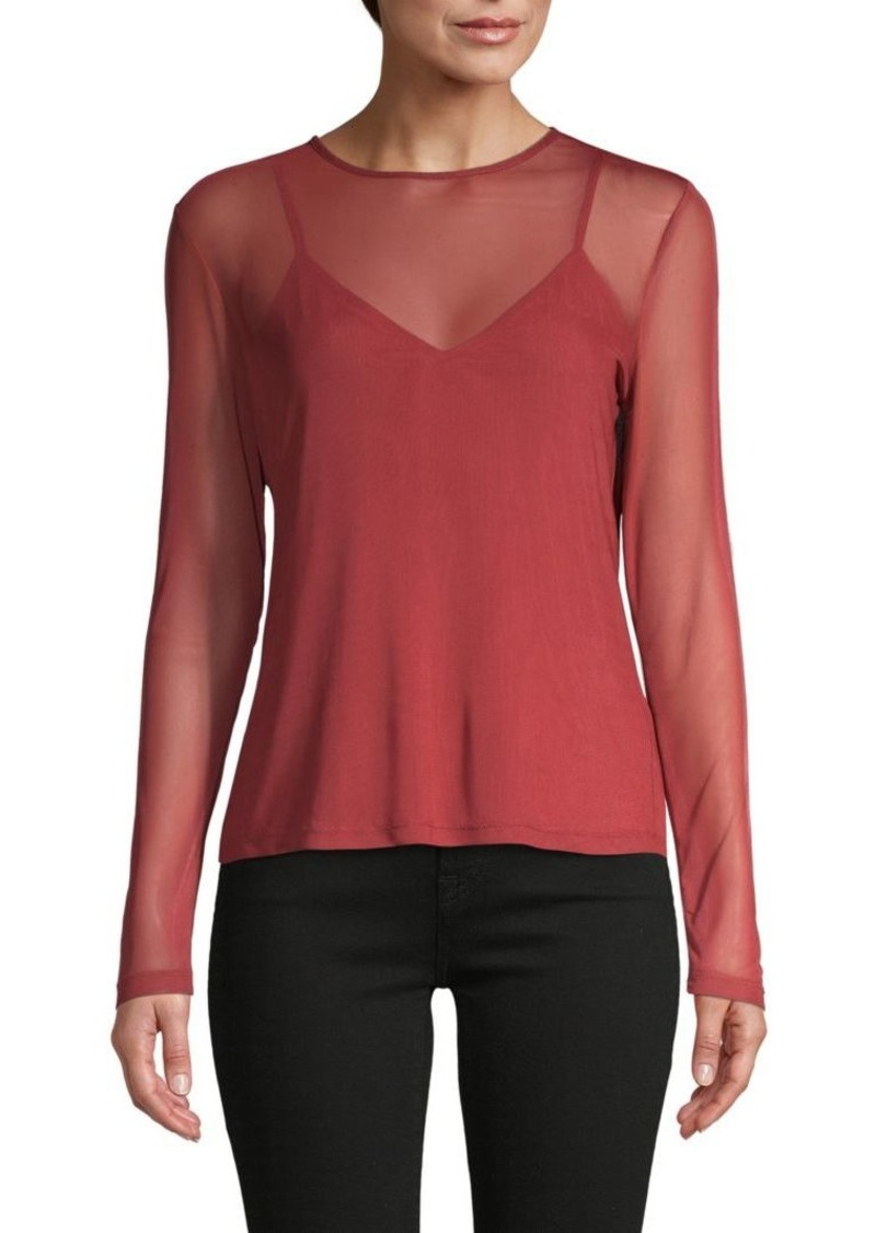 Rebecca Minkoff Roundneck Long-Sleeve Top