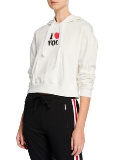 Rebecca Minkoff Roxanne I Heart You Cropped Hoodie Sweatshirt