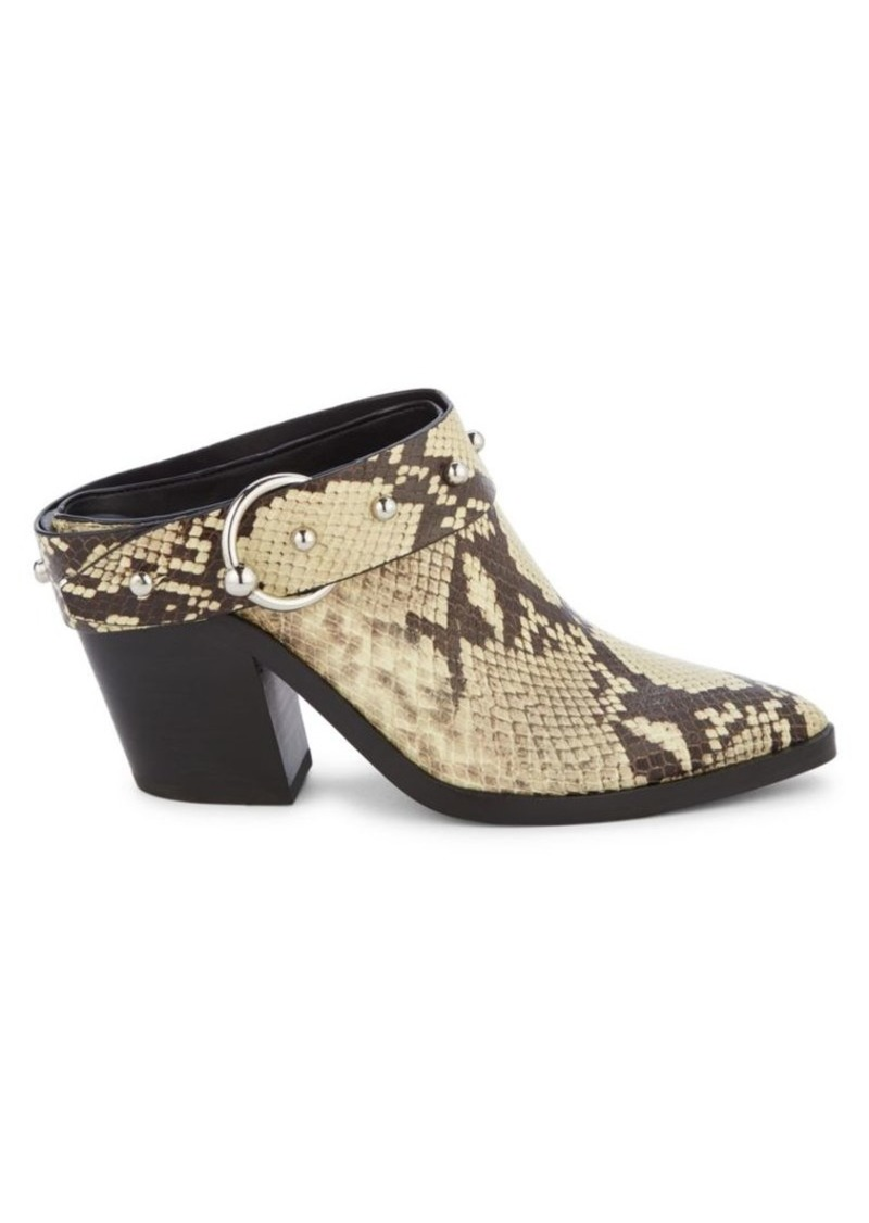 Rebecca Minkoff Sallest Too Snakeskin-Embossed Leather Mules