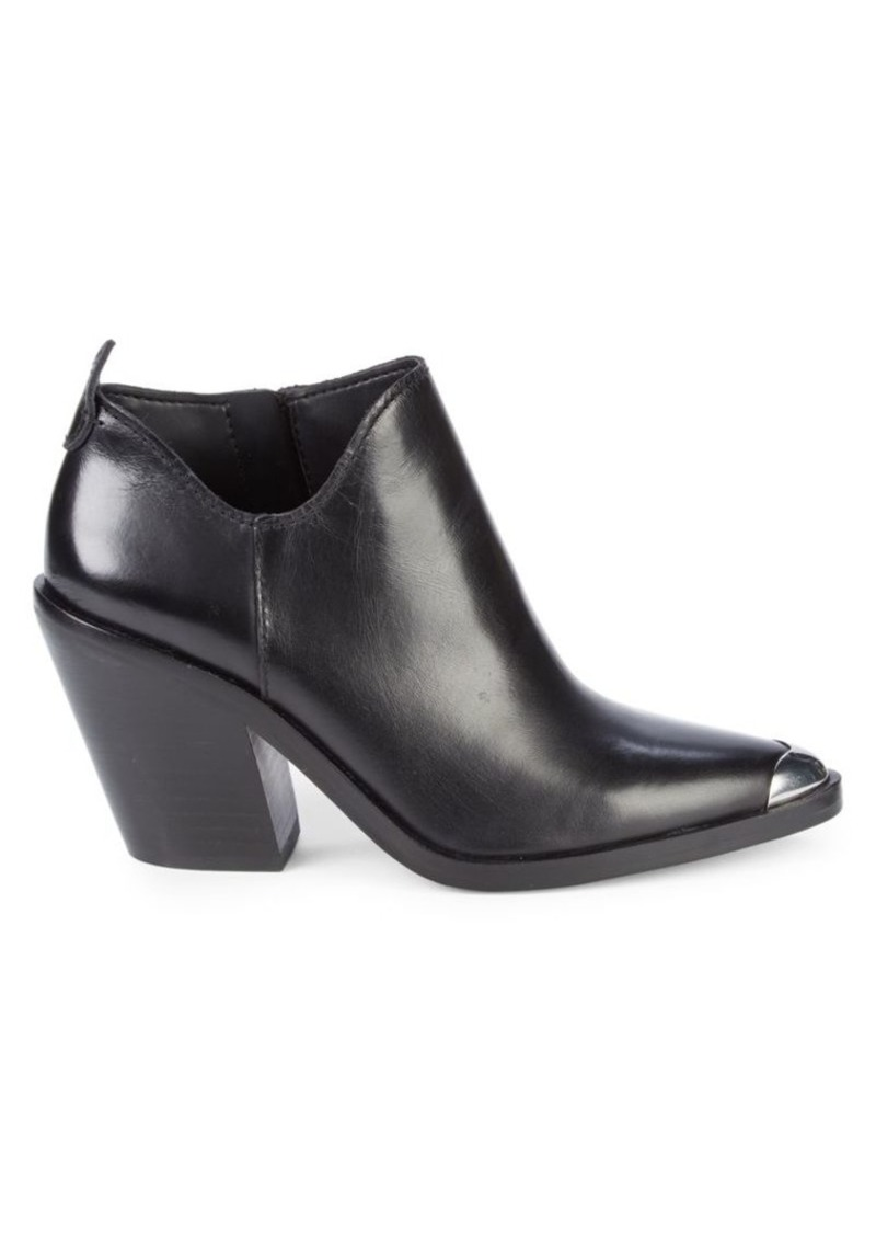 Rebecca Minkoff Seiji Western Stack-Heel Leather Booties