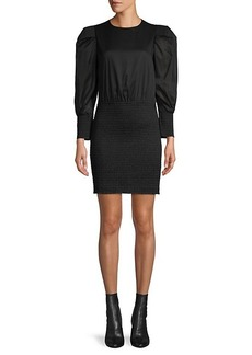 Rebecca Minkoff Smocked Puff-Sleeve Mini Dress