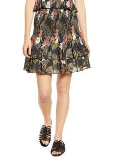 Rebecca Minkoff Tropical Print Smocked Ruffle Skirt